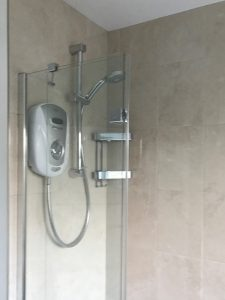 247 Plumbing Solutions of Larkfield, Kent. Rip out and install of Bathroom including replastering, fixtures, shower, flooring, tiling and building shelving cupboard in Dartford, Kent.