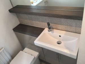 247 Plumbing Solutions of Larkfield, Kent. Removal and replacement of Cloakroom including new fittings and fixtures, flooring, tiling and decorating in Sevenoaks Weald, Kent.