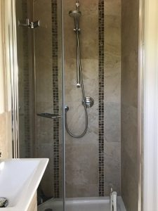 247 Plumbing Solutions of Larkfield, Kent. Removal and replacement of Ensuite Bathroom including new fittings and fixtures, shower, flooring, tiling and decorating in Sevenoaks Weald, Kent.
